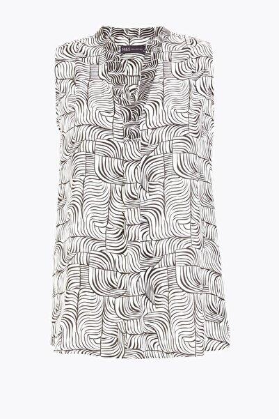 Marks & Spencer Kadın Bej Desenli V Yaka Bluz T43002570