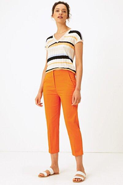 Marks & Spencer Kadın Turuncu Mia Slim Crop Pantolon T59005760