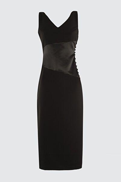 Siyah Saten Bel Korsaj Efektli  Elbise TPRSS20EL2375