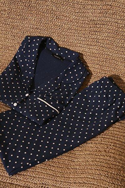 Lacivert Puantiyeli Örme Pijama Takımı THMSS20PT0304