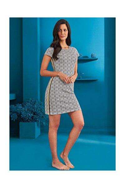 Doreanse Kadın Pamuklu Gri Desenli Elbise Pijama 4160
