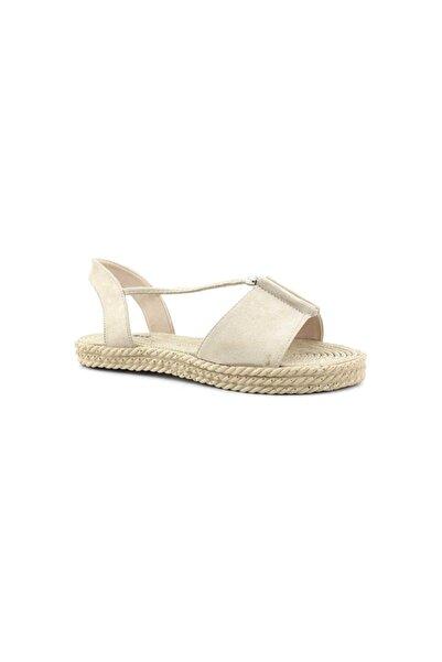 PUNTO Kadın Bej Süet  Günlük Sandalet 570020