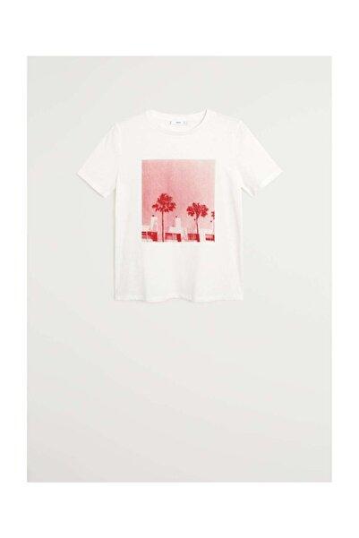 Kadın Kırık Beyaz Yazılı Organik Pamuklu Tişört 67007906