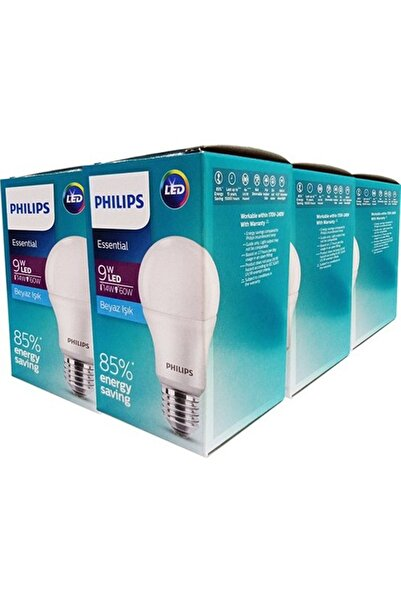 Philips Essential Led Ampul 9w-60w Beyaz Işık E27 Normal Duy 6'lı Paket