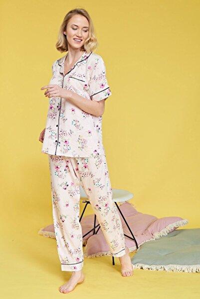 Ihlamur Çiçekli Önden Düğmeli Pijama Takımı B29022