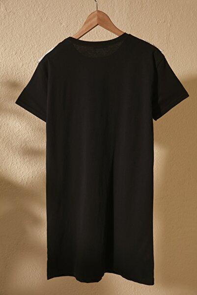 Siyah Dantel Detaylı Örme Elbise TWOSS20EL2819