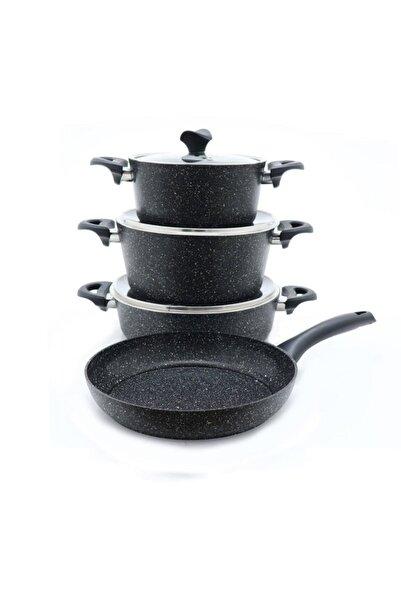 3455 Master Cook 7 Parça Granit Tencere Seti Siyah