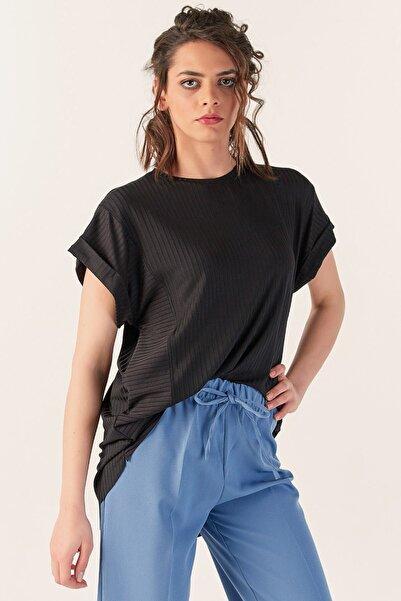 Fulla Moda Kadın Fitilli Siyah Tshirt