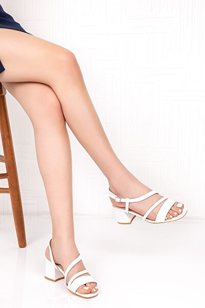Gondol Hakiki Deri Bant Detay Topuklu Ayakkabı