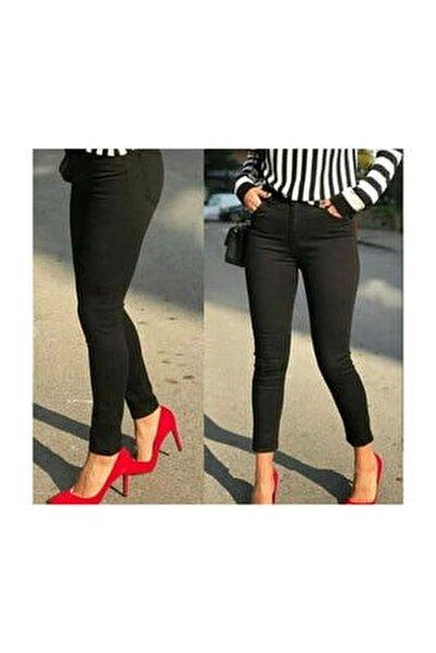Kadın Likralı Siyah Keten Pantolon