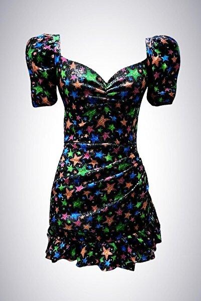 GIRA-GIRA Payetli Yıldız Desen Elbise