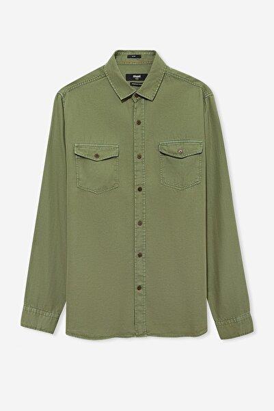 Erkek Çift Cepli Yeşil Gömlek 021422-30721