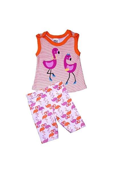 Abentiny 6 Aylık Pelikan Flamingo Askılı Taytlı Ikili Kız Takım
