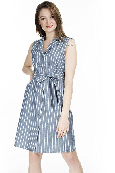 Vero Moda Kadın Mavi Çizgili V Yaka Belden Bağlamalı Kolsuz Elbise 10227810 VMSANDY