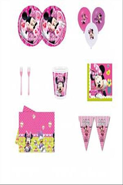 MINNIE Mouse Mini Mouse Doğum Günü Parti Malzemeleri Süsleri Seti 16 Kişilik