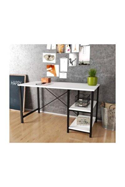 Çalışma Masası Ev Ofis Metal 2 Raflı Metal Masa Beyaz Renk Masa