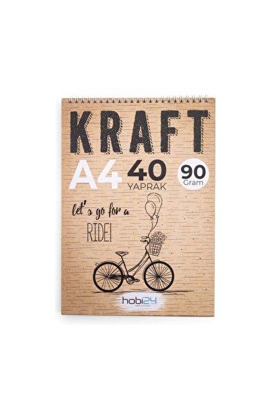 hobi24 Kraft Eskiz Blok Defter - A4 - 90 gram - 40 Yaprak