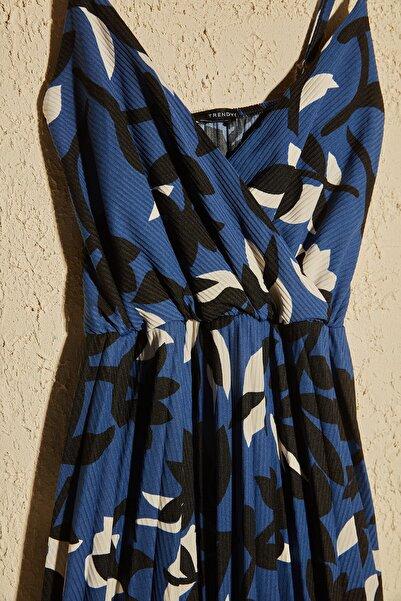 Çok Renkli Çiçek Desenli Örme Elbise TWOSS20EL2729