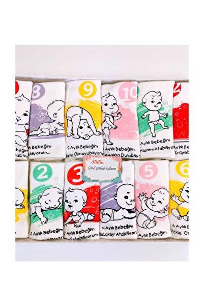 Aylık Body Set 12 Li Sitilin Kutu Hediyeli Her Aya Özel Yazılı Baskılı Kız Badi