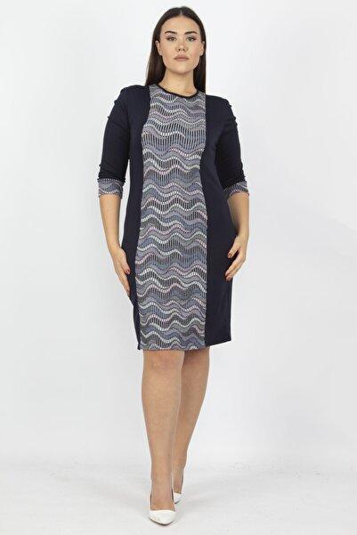 Şans Kadın Lacivert Garni Detaylı Elbise 65N15778