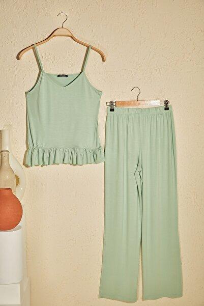 Mint Fırfır Detaylı Örme Pijama Takımı THMSS20PT0339