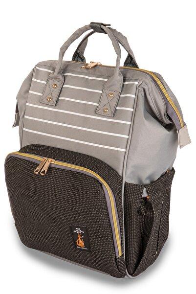 The Kangaroo Bag Luxury Anne Bebek Bakım Sırt Çantası Çizgili Siyah Dokulu