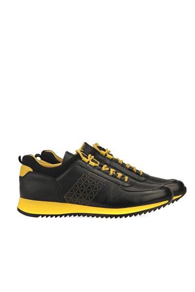 Uniquer Erkek Hakiki Deri Sneaker 9316 1940 Siyah-Sarı