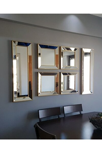 Vivense Neostill 6Lı Dekoratif Duvar Salon Ofis Çerçeveli Ayna A403F