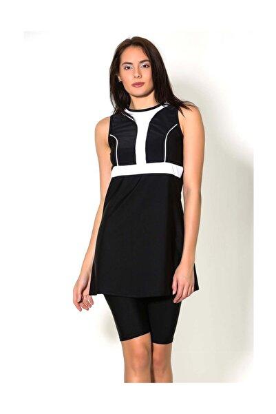 CAMASIRCITY C&City 7187 Japone Yarı Kapalı Taytlı Elbise Mayo Siyah/Beyaz