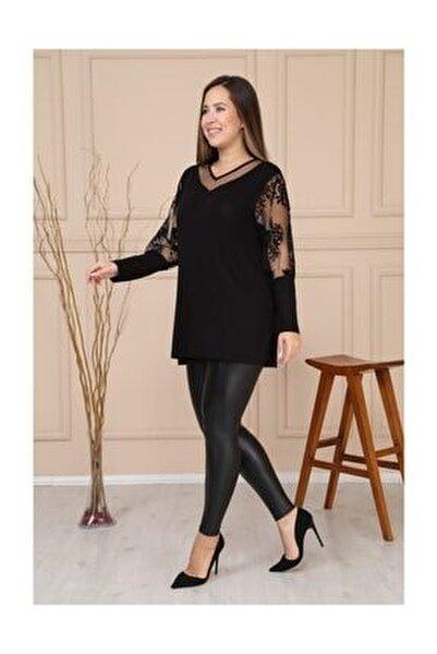 Kadın Siyah V Yaka Kol Çiçek Flok Baskı Bluz