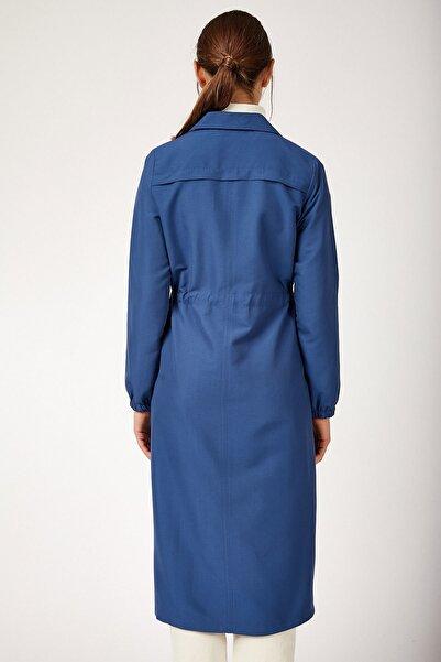 Kadın İndigo Önü Boydan Fermuarlı Trenchcoat 5677BGD19_043
