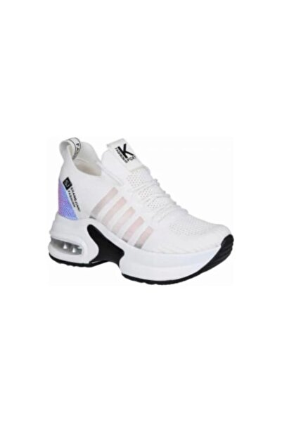 Guja Kadın Spor Ayakkabısı Dolgu Topuklu Tabanlı Beyaz