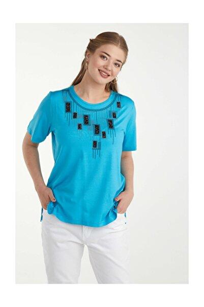 Sementa Kadın Dijital Baskılı Bluz - Mavi