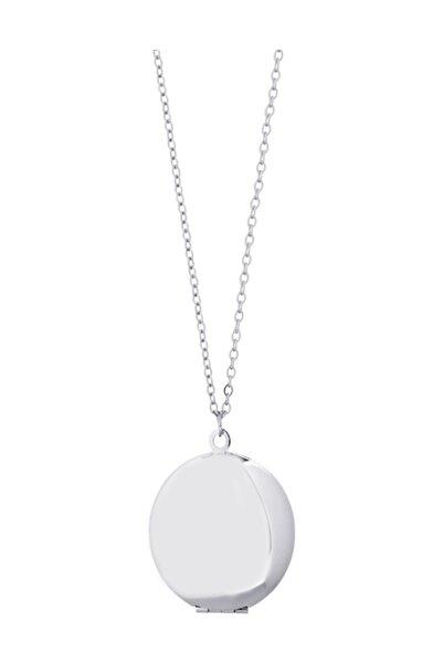 Chavin İçi Açılan Zincirli Yuvarlak Madalyon Kadın Kolye ec90