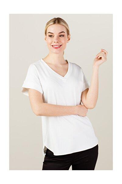 Kadın Simli V Yaka Tişört