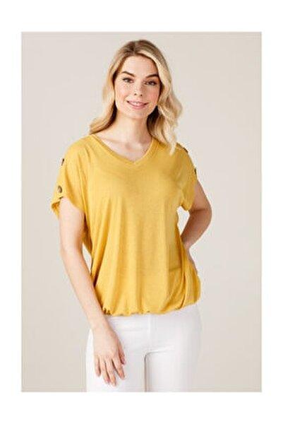 Kadın Omuzları Düğmeli T-shirt
