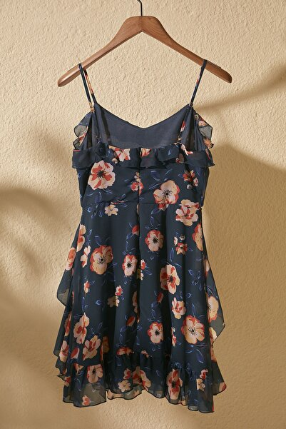 Lacivert Çiçek Desenli Elbise TWOSS20EL1267