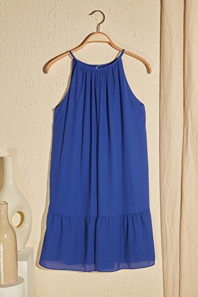 Lacivert Volanlı Elbise TWOSS20EL2904
