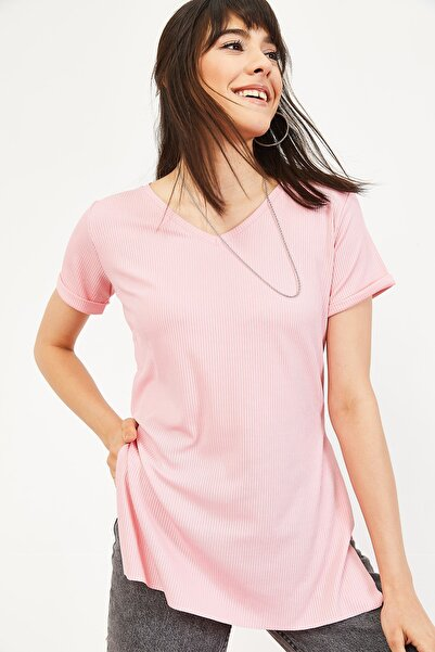 Bianco Lucci Kadın Pudra Kol Yan Yırtmaçlı Kol Detay Kaşkorse T-Shirt 10051012