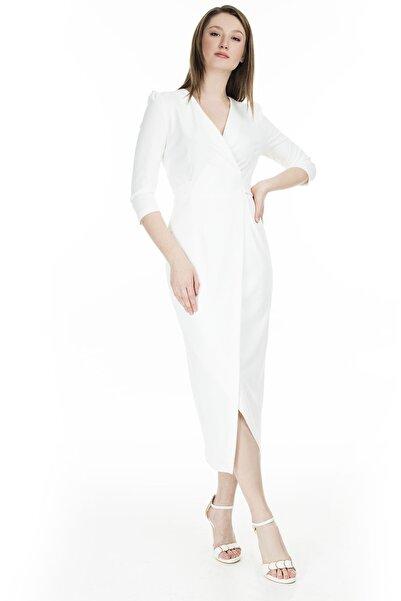 AYHAN Kruvaze Yaka Bağlama Detaylı Elbise KADIN ELBİSE 04661246