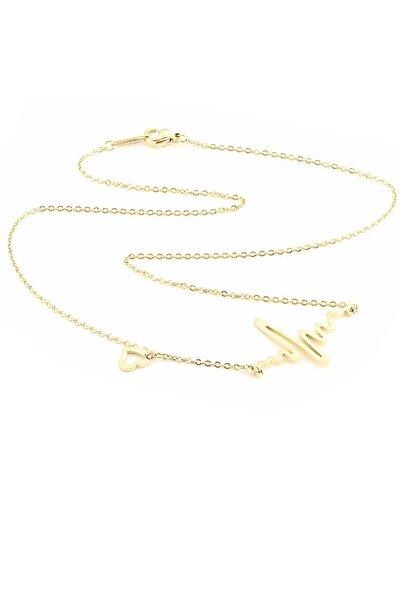 Welch Kadın Ritim Simgeli Gold Çelik Kolye 80512gold
