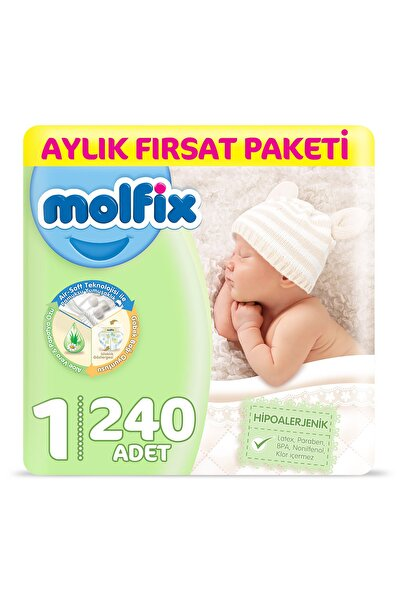 Molfix Bebek Bezi 1 Beden Yenidoğan Aylık Fırsat Paketi 240 Adet