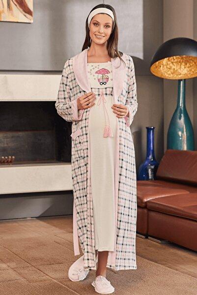 Mecit Pijama Kadın Ekoseli Sabahlıklı Lohusa Gecelik Takım 5213   - Pembe