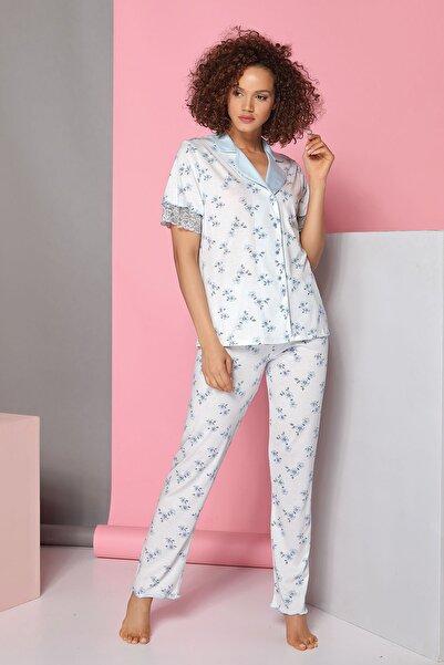 Sevim Kadın Çok Renkli Düğmeli Pijama Takım