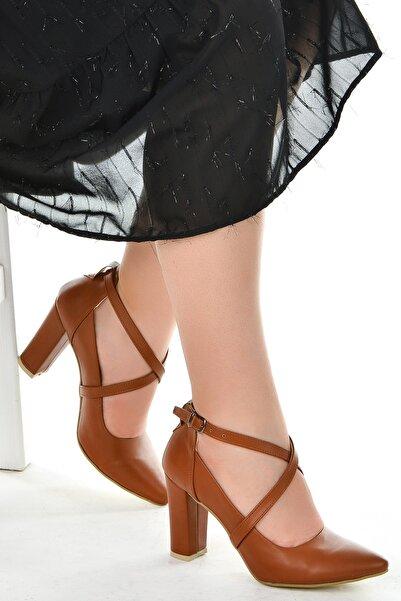 Ayakland Cilt 9 Cm Topuk Sandalet Ayakkabı 137029-1122