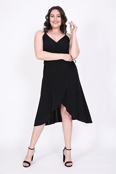 MYLİNE Kadın Siyah Anvelop Elbise