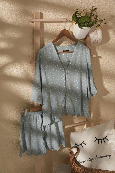 Mint Puantiyeli Viskon Dokuma Pijama Takımı THMSS20PT0281