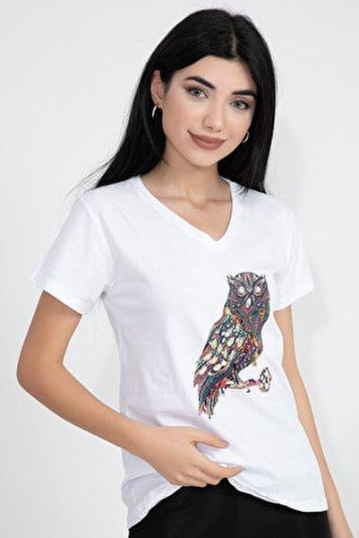 V Yaka Baykuş Baskı Pullu Taşlı Kadın T-shirt