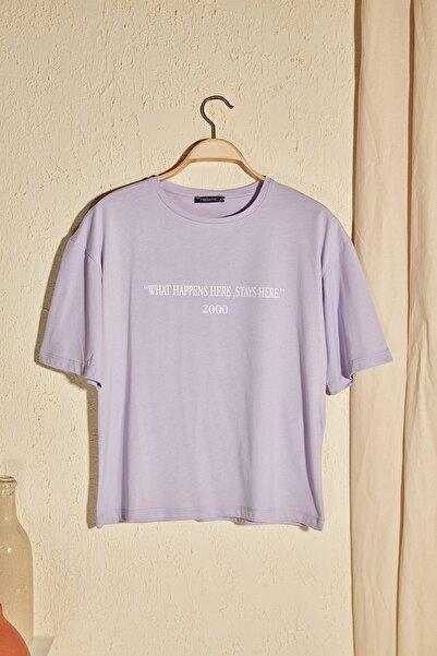 Lila Baskılı Loose Kalıp Örme T-Shirt TWOSS19GH0034