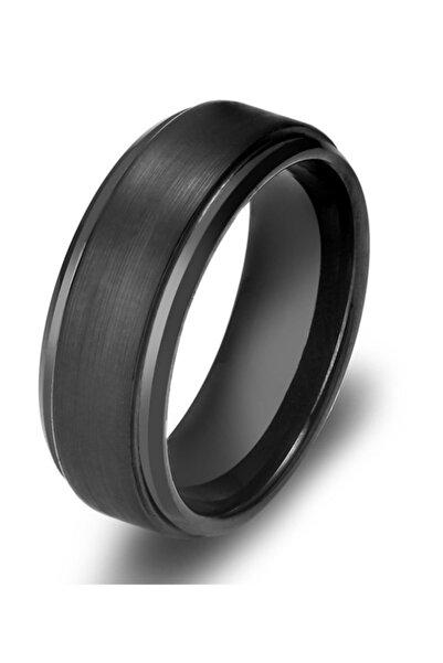 Chavin Erkek Mat Siyah Fırçalanmış Tungsten Yüzük dm75